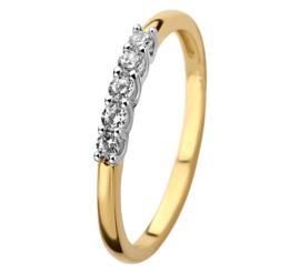 Bicolor Zirkonia Rij Ring voor Dames