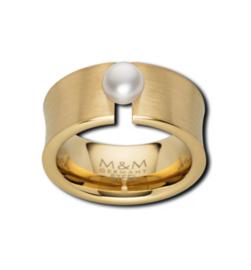 Brede Vlakke Goudkleurige Ring met Zoetwaterparel van M&M
