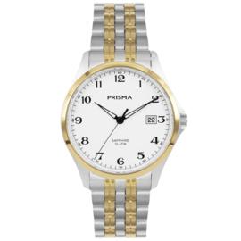 Prisma Klassiek Zilverkleurig Heren Horloge met Goudkleurige Elementen