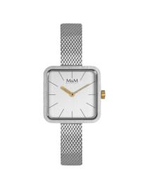 Vierkant Zilverkleurig M&M Dames Horloge met Slanke Horlogeband