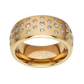 Goudkleurige Ring met Meerdere Zirkonia's van M&M / Maat 18,5