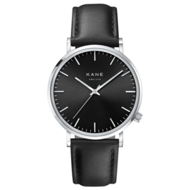 KANE Horloge met Zwarte Lederen Horlogeband
