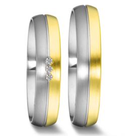 Bolstaande Bicolor Trouwringen Set van Zilver met 9 Karaats en Drie Diamanten