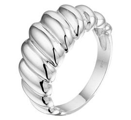 Brede Gedraaide Ring van Gerhodineerd Zilver