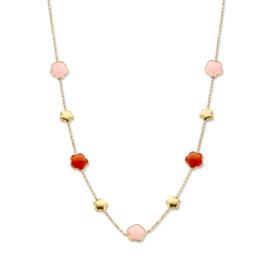 Excellent Jewelry Geelgouden Collier met Rode en Roze Edelsteen