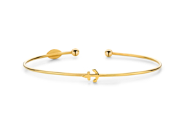 Super Stylish Goudkleurige Bangle Armband met Anker