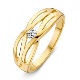 Excellent Jewelry Geelgouden Opengewerkte Stroken Ring met Zirkonia