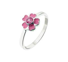 Vlakke Zilveren Ring voor Kinderen met Roze Bloem en Zirkonia