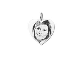 Mini Hartvormige Zilveren Fotogravure Hanger van Names4ever