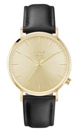 Goudkleurig KANE Horloge met Zwarte Lederen Horlogeband