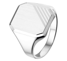 Graveer Ring van Zilver met Gediamanteerde Achthoek voor Jongens