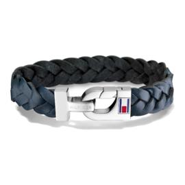 Stijlvol Gevlochten Blauw Lederen Heren Armband van Tommy Hilfiger TJ2700873
