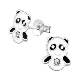 Zilveren Panda Oorstekers met Zirkonia