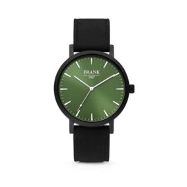 Zwart Horloge van Frank 1967 met Groene Wijzerplaat