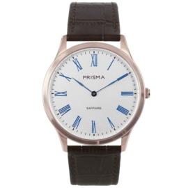 Roségoudkleurig Heren Horloge met Bruin Lederen Horlogeband van Prisma
