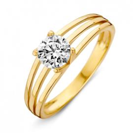 Excellent Jewelry Geelgouden Drie Stroken Ring met Grote Zirkonia