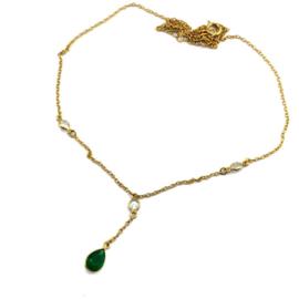 Schakelketting met Emerald Natuursteen van Sujasa