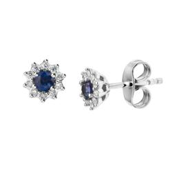Witgouden Diamanten Rozet Oorknoppen met Blauwe Saffier