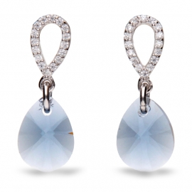 Pear Drop Blauwe Swarovski Oorbellen van Spark Jewelry