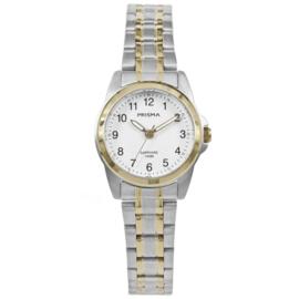 Prisma Zilverkleurig Dames Horloge met Goudkleurige Elementen