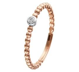 Bolletjes Ring van Roségoud met Zirkonia