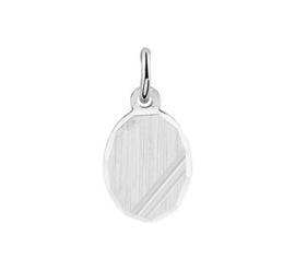 Graveer Initiaal Hanger Ovaal Gediamanteerd Zilver