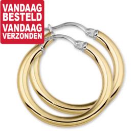 Ronde Buis Edelstalen Creolen met Goudkleurige PVD-Coating / 45mm