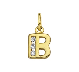 Alfabet Letter B Hanger van Geelgoud met Zirkonia's