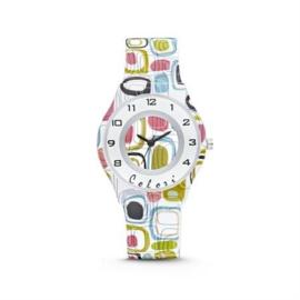 Wit Horloge voor Kids met Kleurrijke Stippen van Colori Junior