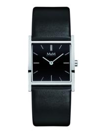 Zilverkleurig Basic Square Dames Horloge met Zwarte Band van M&M
