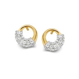 Excellent Jewelry Geelgouden Cirkel Oorstekers met Robuust Zirkonia Vlak