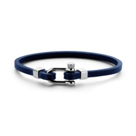 Slanke Heren Armband van Blauw Leder van Frank 1967
