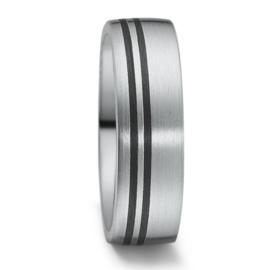 Brede Matte Zilveren Heren Trouwring met Carbon Lijnen