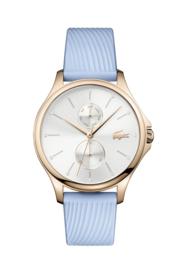 Lacoste Roségoudkleurig Kea Dames Horloge met Luchtblauw Lederen Horlogeband