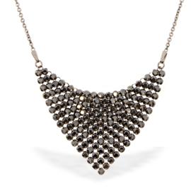 Chic Zilveren Ketting met Zwarte Glaskristallen