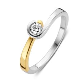 Excellent Jewelry Bicolor Ring met Stijlvol Gedraaid Zirkonia Kopstuk