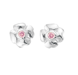Zilveren Bloem Oorknoppen van Zilver met Roze Zirkonia