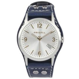 Prisma Heren Horloge met Blauw Lederen Horlogeband