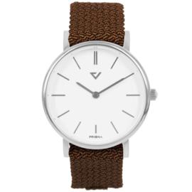 Prisma Zilverkleurig Unisex Horloge met Cognac Nylon