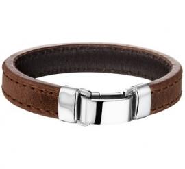 Bruin Lederen Armband met Glanzende Sluiting