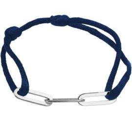 Blauw Gevlochten Armband met Zilveren Schakels