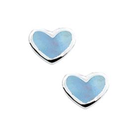 Blauwe Parelmoer Hart Oorknoppen van Zilver
