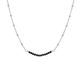 Zilveren Collier met Schakels en Zwarte Strass Kopstuk