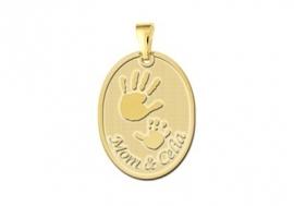 Names4ever Gouden Handjes Geboorte Hanger met Naam en Datum