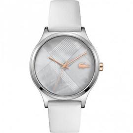 Zilverkleurig Nikita Horloge voor Dames met Witte Band van Lacoste