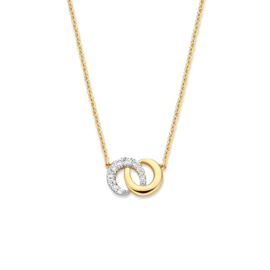 Excellent Jewelry Collier met Bicolor Ringen Hanger met Diamanten