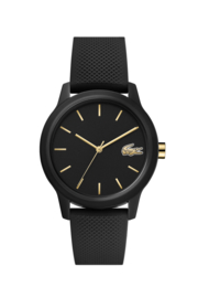 Lacoste Zwart Dames Horloge met Zwarte Silicone Horlogeband