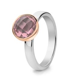 Excellent Jewelry Zilveren Ring met Roségouden Rondje en Rozenkwarts