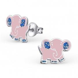 Roze olifant oorbellen met blauwe glitters op de poten en de oren