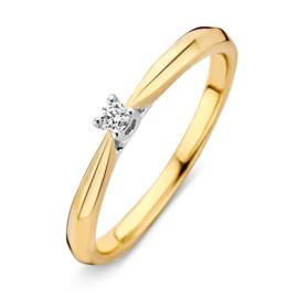 Excellent Jewelry Bicolor Ring met Vernauwing en 0,06 crt. Briljant